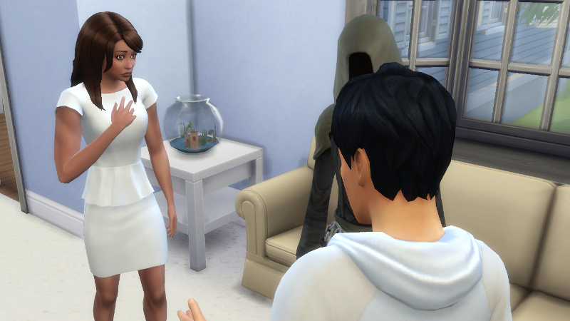 Julian talks to Claire, who looks sad while listening; the Grim Reaper stands nearby looking at Julian