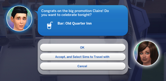 Alexander Goth texts Claire: Congrats on the big promotion Claire! Do you want to celebrate tonight? Bar: Old Quarter Inn