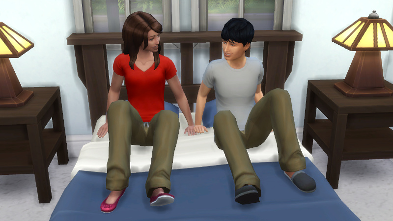 Julian and Claire jump into bed