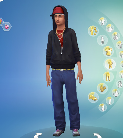 "Abed in CAS, in ""gangsta"" clothes"