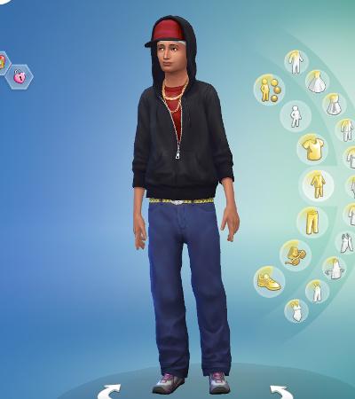 """Abed in CAS, in """"gangsta"""" clothes"""