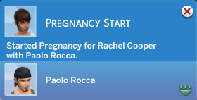 Pregnancy Start: Started Pregnancy for Rachel Cooper with Paolo Rocca.