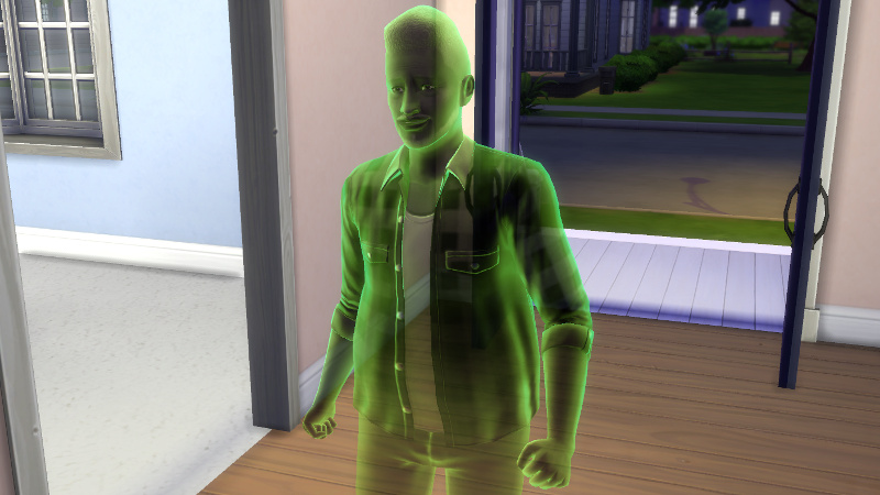 Melvin's ghost streams merrily into the house, coloured green