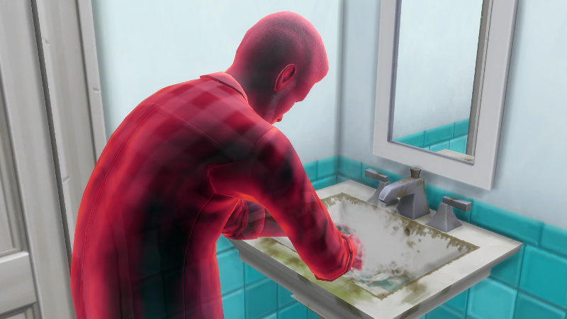 Melvin, now red, washes his hands in a dirty sink