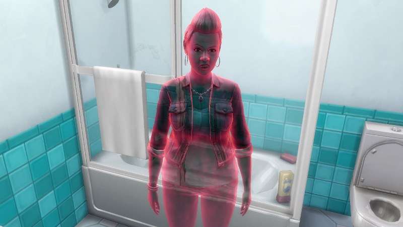 Stacey's ghost, flaming red, stands in front of a broken showertub
