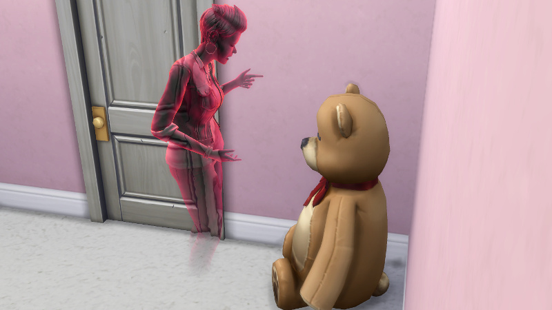 Britta lectures the giant teddy bear