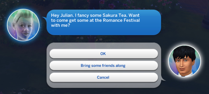 Stacey's ghost calls Julian: Hey Julian. I fancy some Sakura Tea. Want to come get some at the Romance Festival with me?