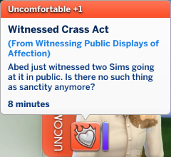 Abed has an Uncomfortable moodlet: Witnessed Crass Act