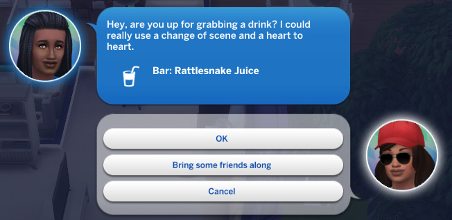 Christina calls Claire: Hey, are you up for grabbing a drink? I could really use a change of scene and a heart to heart.