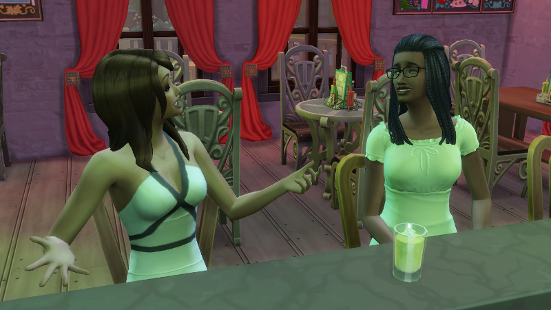 Claire and Christina share a drink at the bar