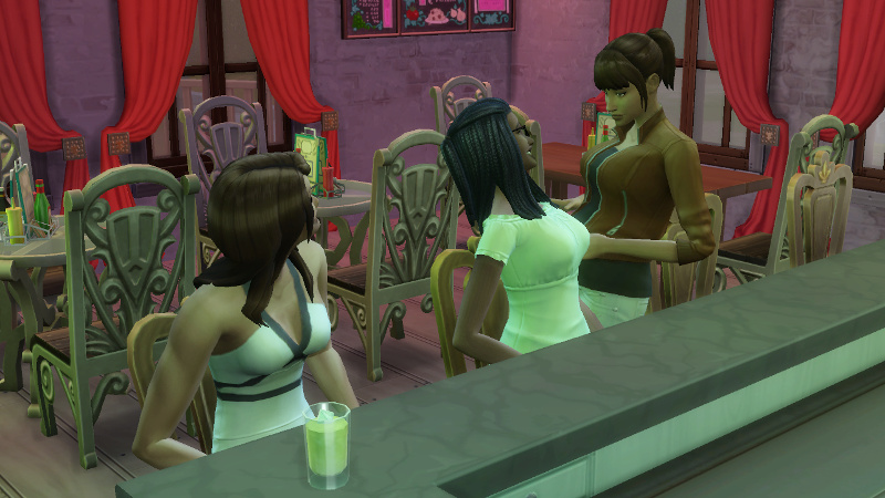 Rachel joins Claire and Christina at the bar