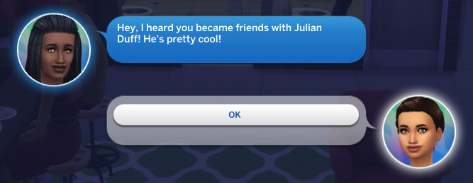 Christina texts Britta: Hey, I heard you became friends with Julian Duff! He's pretty cool!
