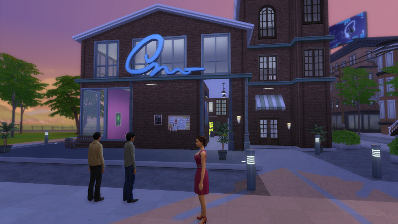 Troy, Abed and Britta stand outside a karaoke bar in San Myshuno