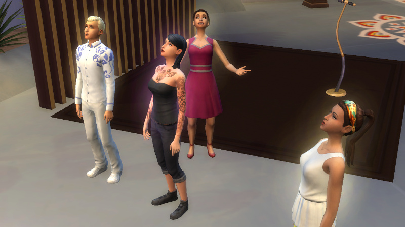 a bunch of Sims watch fireworks, Britta the most giddy of all