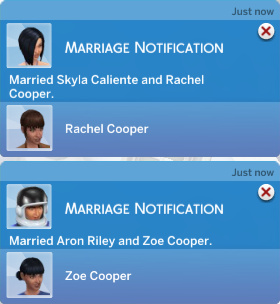 Marriage Notification: Married Skyla Caliente and Rachel Cooper. Marriage Notification: Married Aron Riley and Zoe Cooper.