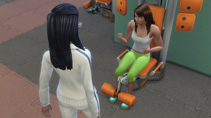 Claire psyches up her twin Christina for a work out