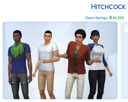 picture of Zoe in the Hitchcock household in Oasis Springs, which consists of her and three men