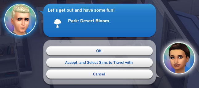 Wolfgang texts Britta: Let's get out and have some fun! Park: Desert Bloom
