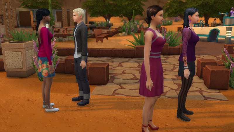 Wolfgang, Britta, Ulrike and another female Sim stand out the front of Desert Bloom park