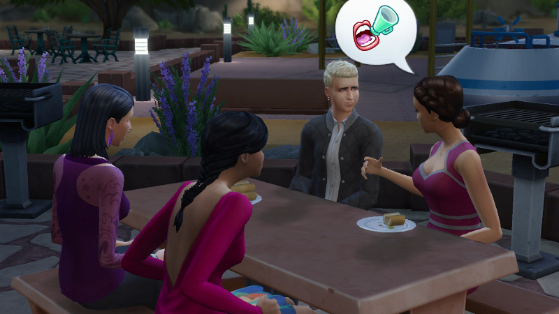 Britta tells Wolfgang, Ulrike and the other Sim about megaphones