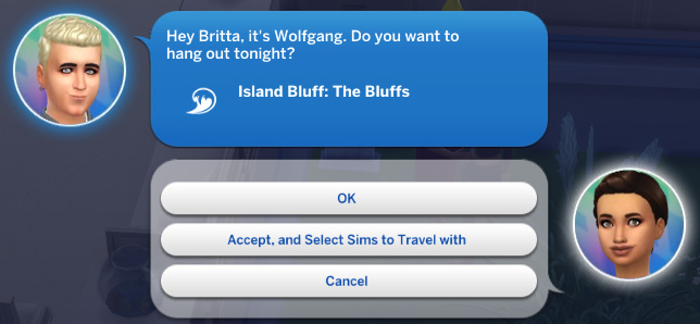 Hey Britta, it's Wolfgang. Do you want to hang out tonight? Island Bluff: The Bluffs