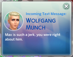 Wolfgang texts Britta: Max is such a jerk, you were right about him.